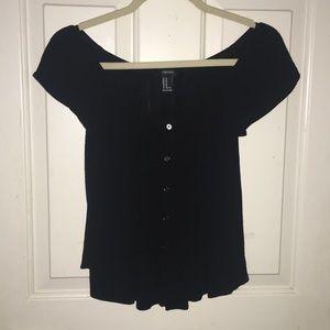 Black Bardot peasant top
